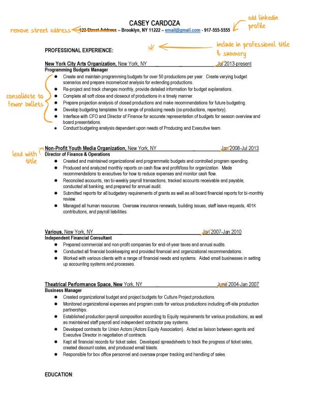 Casey's resume before TopResume