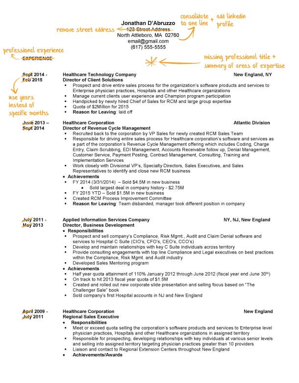 sales resume writing example success story